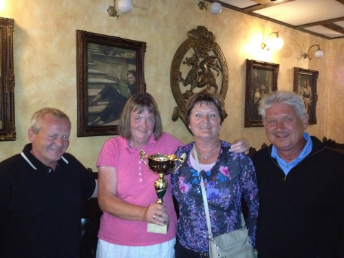 Lis and Astrid receive the cup from Kev & Barry.................