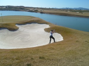 a really tough bunker shot on 11.....
