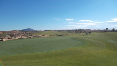 A view from behind the 16th green. Very sunny, but icy cold........