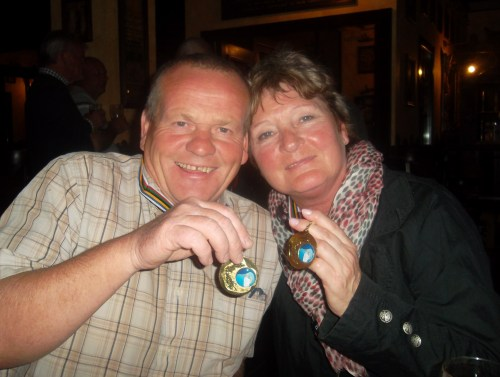 captain Kev and teammate Astrid were proud of their medals.....