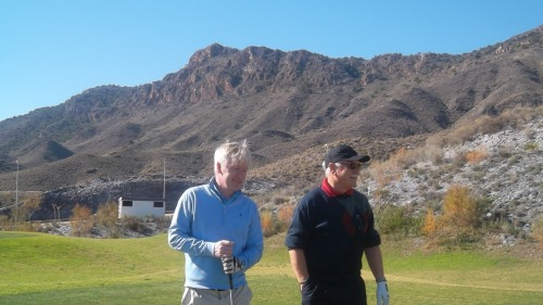 Pat Hughes and Peter Mitchell are surrounded by spectacular mountain views at Aguilon.......