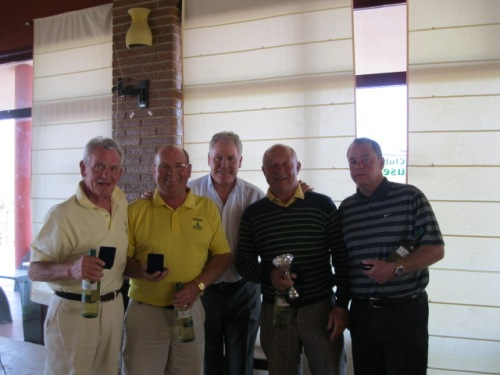 the winning team of Jim, Sandy, Peter and Paul with Joe Royle........