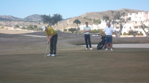 Matty about to knock in his eagle putt at 13...........