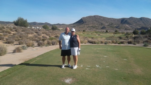Dave and Lesley on a beautiful Spanish morning at El Valle............