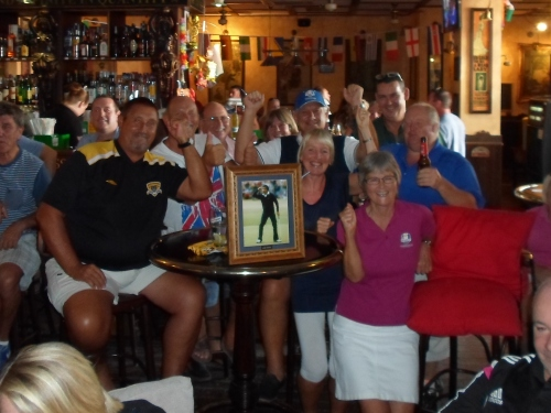Seve (on the table) leads the cheers...................