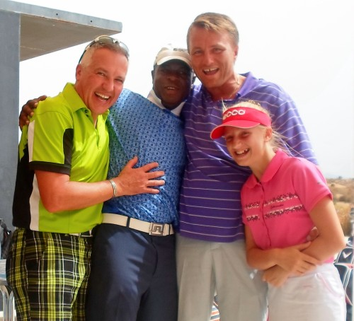 some happy players after the golf.......Tim, Des, Gert and Megan...........
