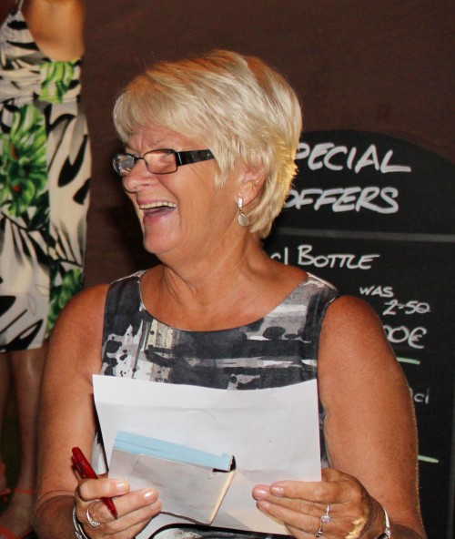 Sue seemed to enjoy her role in shouting out the winning numbers to those sitting 100 yards away......
